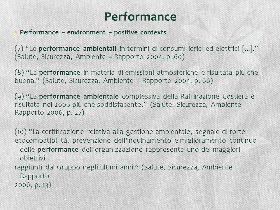 Performance Performance – environment – positive contexts. (7) Le performance ambientali in termini di consumi idrici ed elettrici [...].